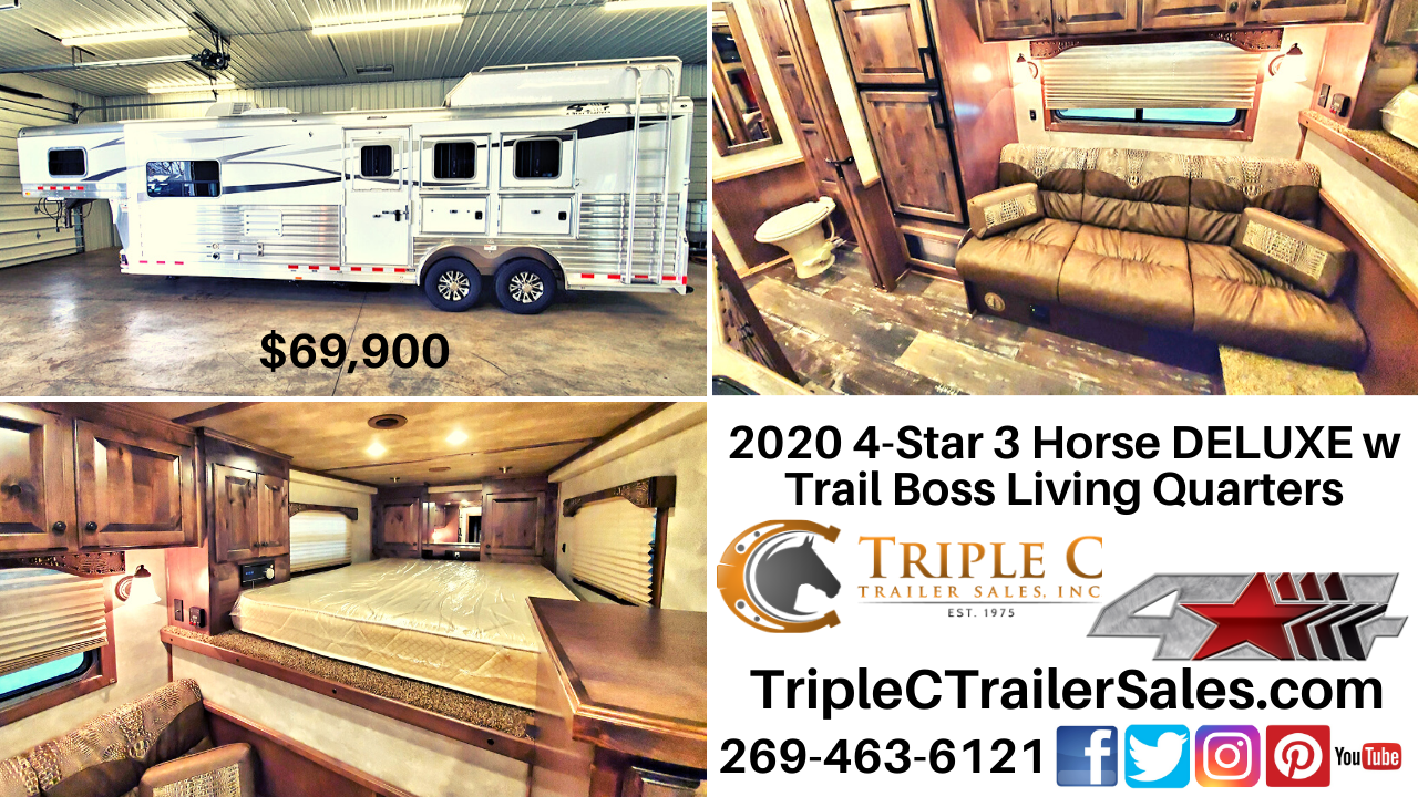 2020 4-Star 3 Horse DELUXE w Trail Boss Living Quarters