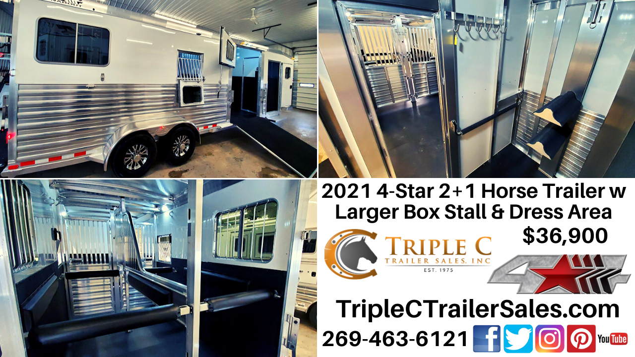 2021 4-Star 2+1 Horse Trailer w Larger Box Stall & Dress Area