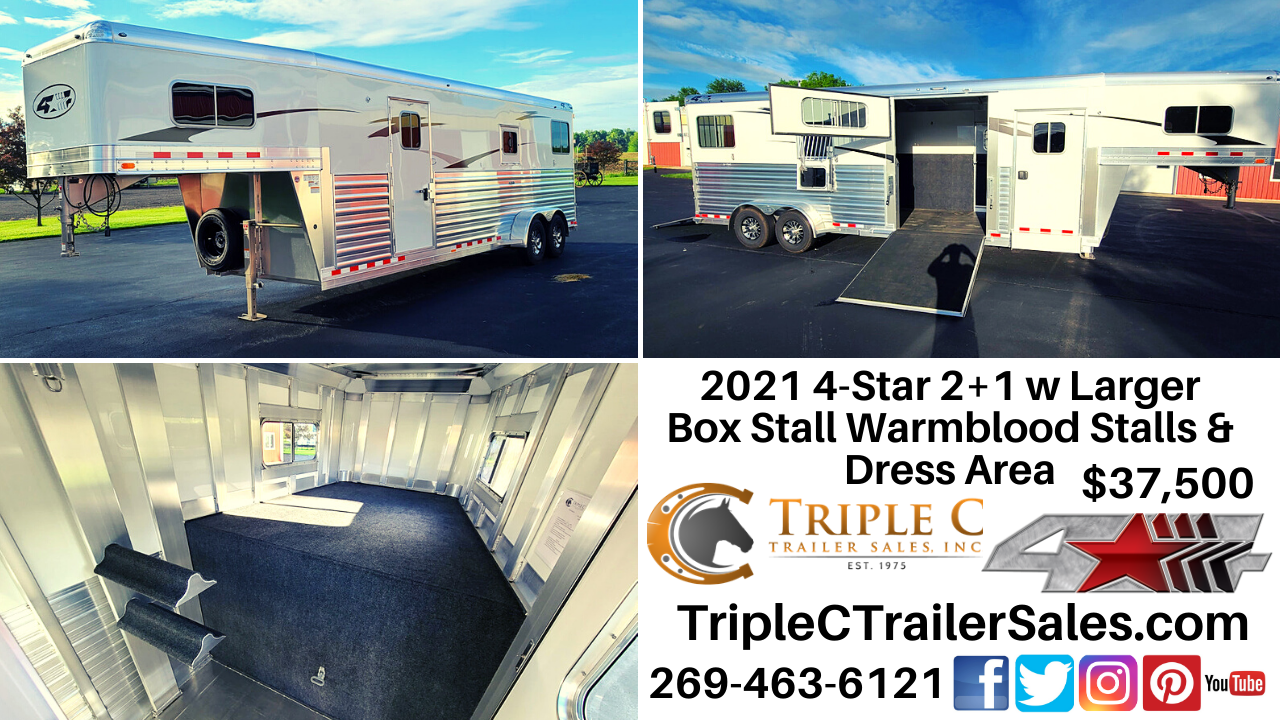 2021 4-Star 2+1 w Larger Box Stall Warmblood Stalls & Dress Area