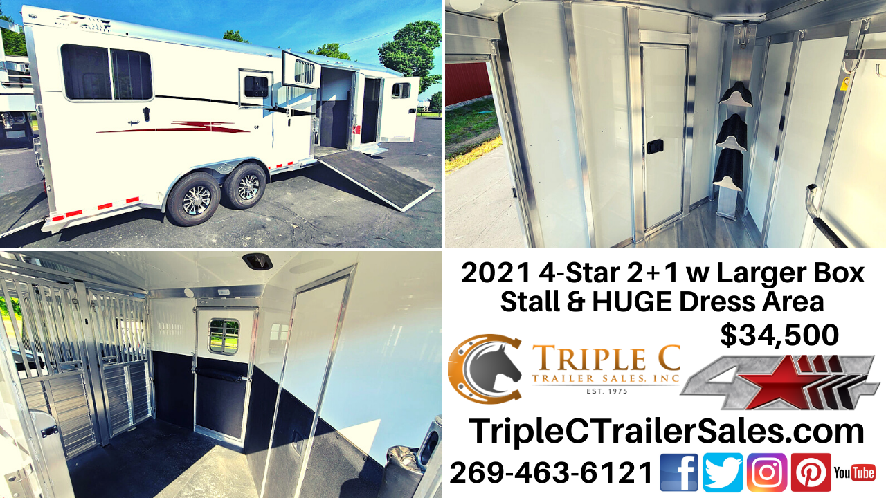 2021 4-Star 2+1 w Larger Box Stall & HUGE Dress Area