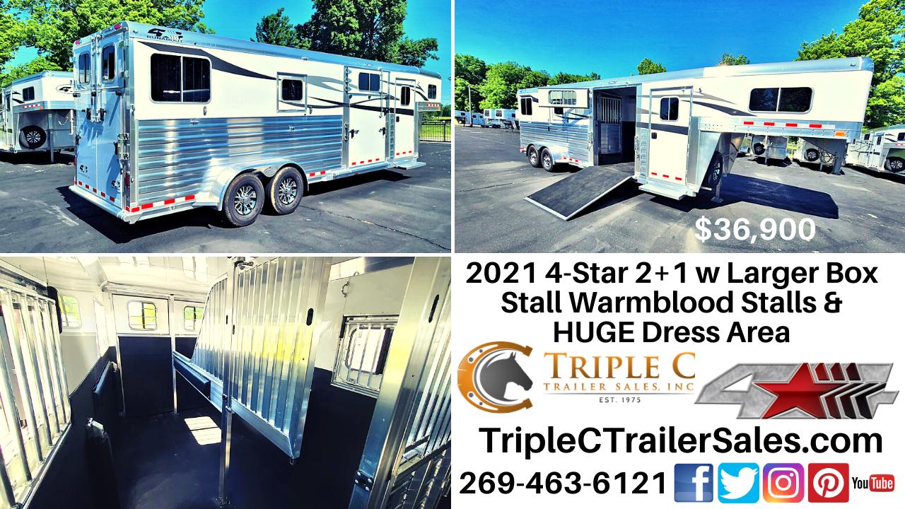 2021 4-Star 2+1 w Larger Box Stall Warmblood Stalls & HUGE Dress Area