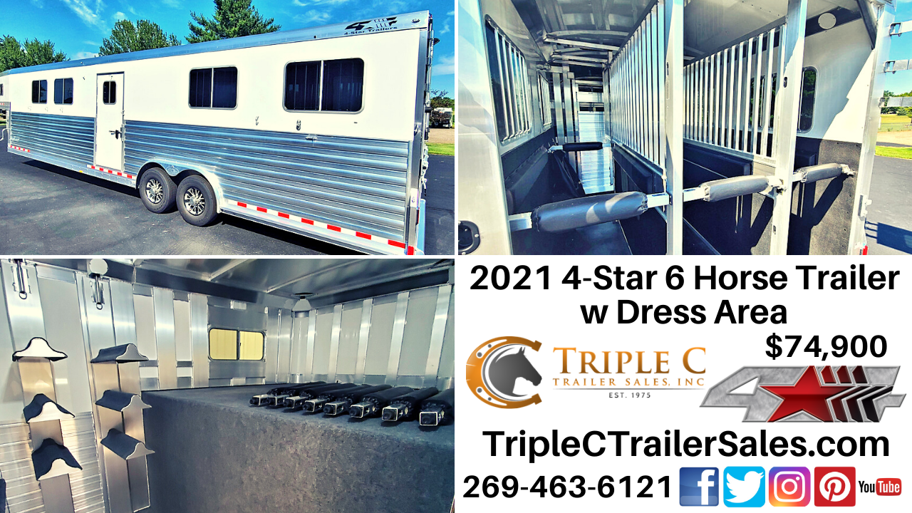 2021 4-Star 6 Horse Trailer w Dress Area