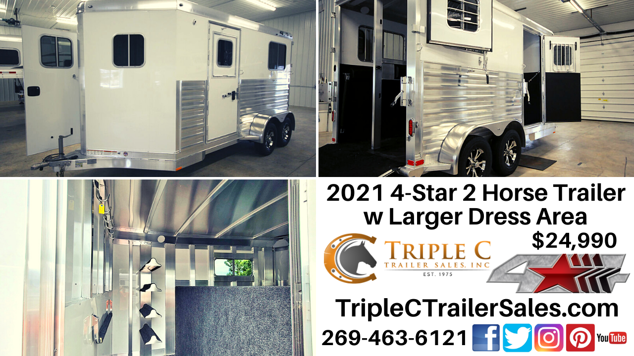 2021 4-Star 2 Horse Trailer w Larger Dress Area