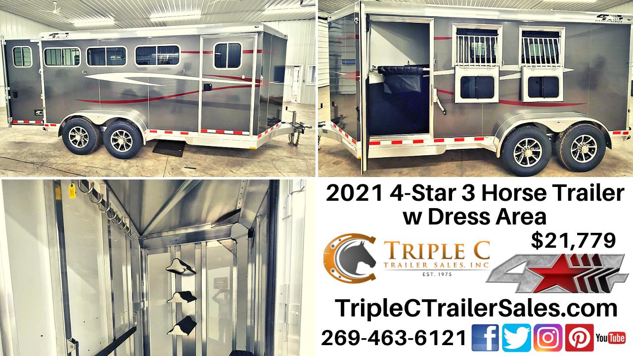 2021 4-Star 3 Horse Trailer w Dress Area