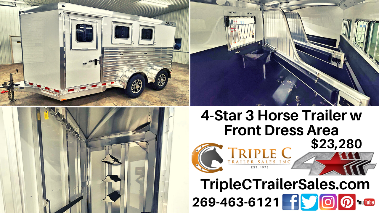 2021 4-Star 3 Horse Trailer w Front Dress Area