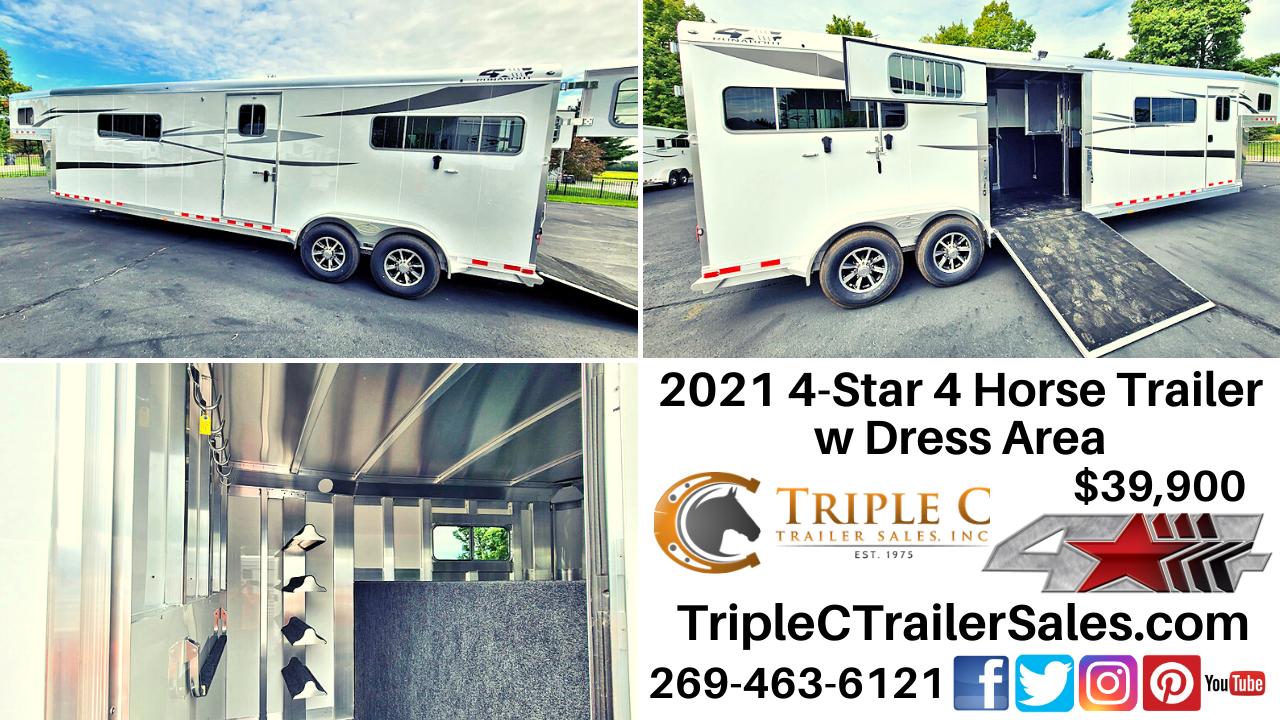2021 4-Star 4 Horse Trailer w Dress Area