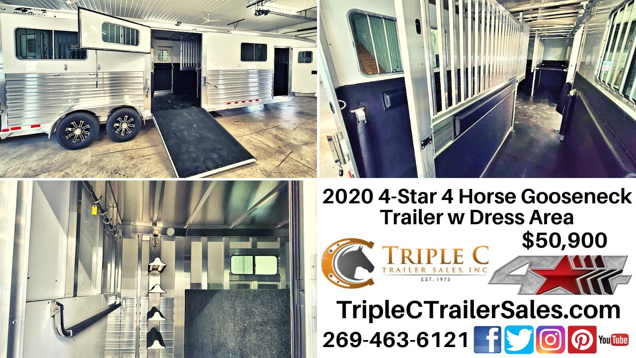 2020 4-Star 4 Horse Gooseneck Trailer w Dress Area