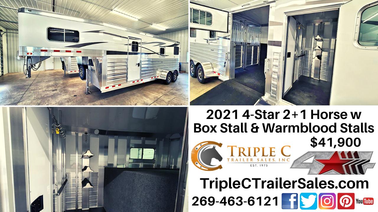2021 4-Star 2+1 Horse w Box Stall & Warmblood Stalls