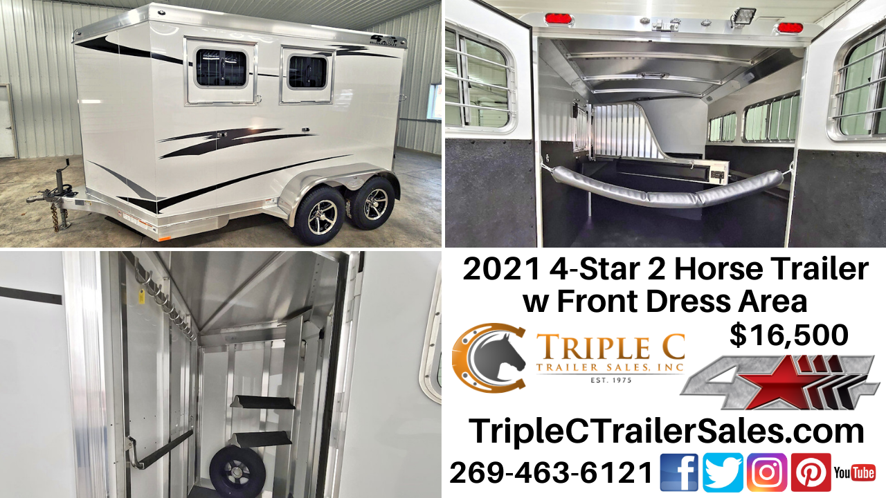 2021 4-Star 2 Horse Trailer w Front Dress Area