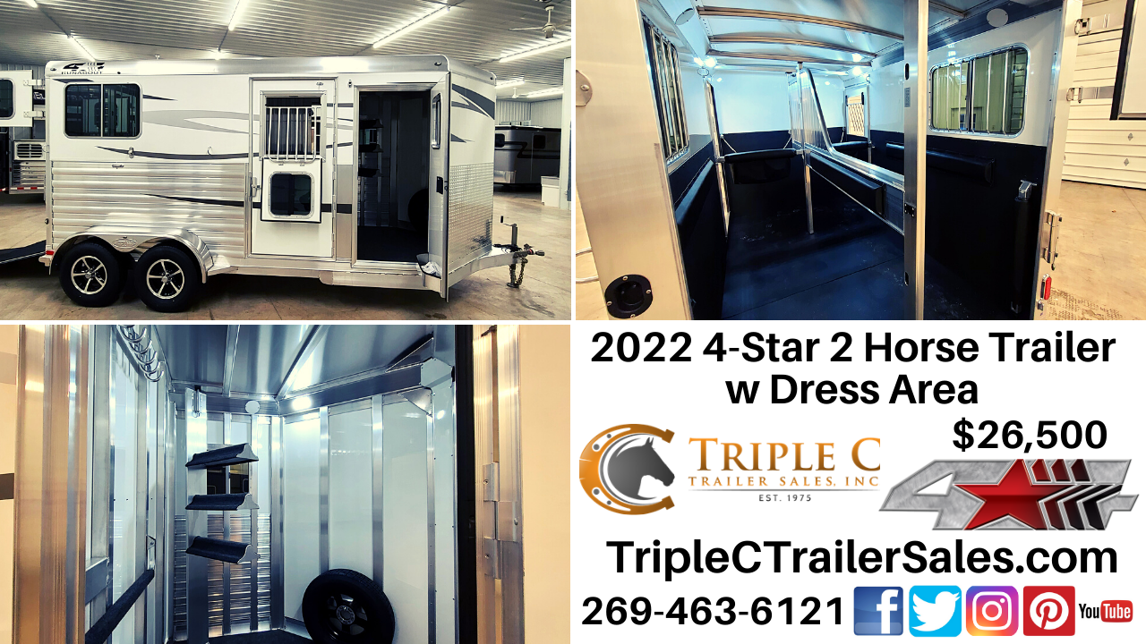 2022 4-Star 2 Horse Trailer w Dress Area