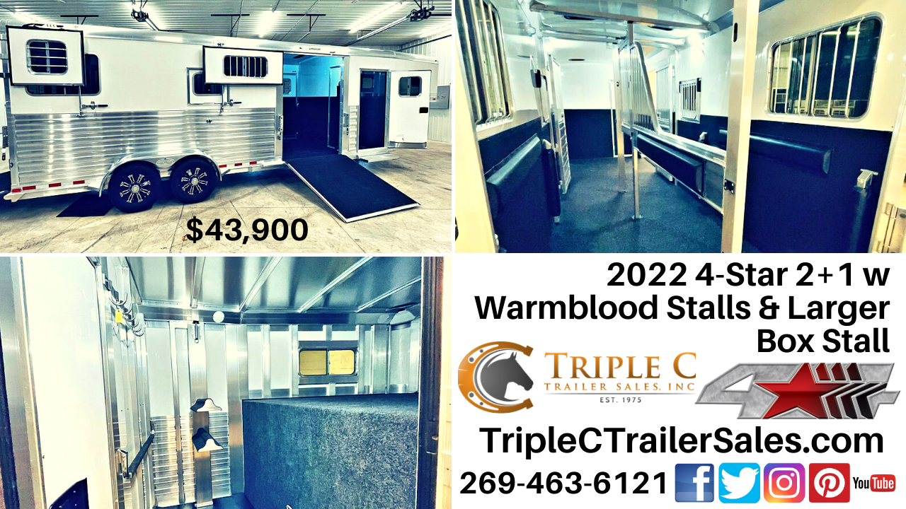 2022 4-Star 2+1 w Warmblood Stalls & Larger Box Stall