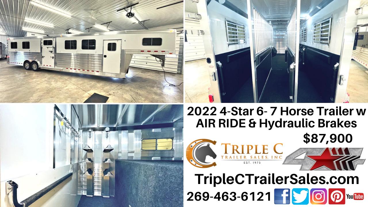 2022 4-Star 6- 7 Horse Trailer w AIR RIDE & Hydraulic Brakes