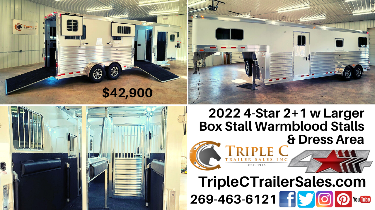 2022 4-Star 2+1 w Larger Box Stall Warmblood Stalls & Dress Area