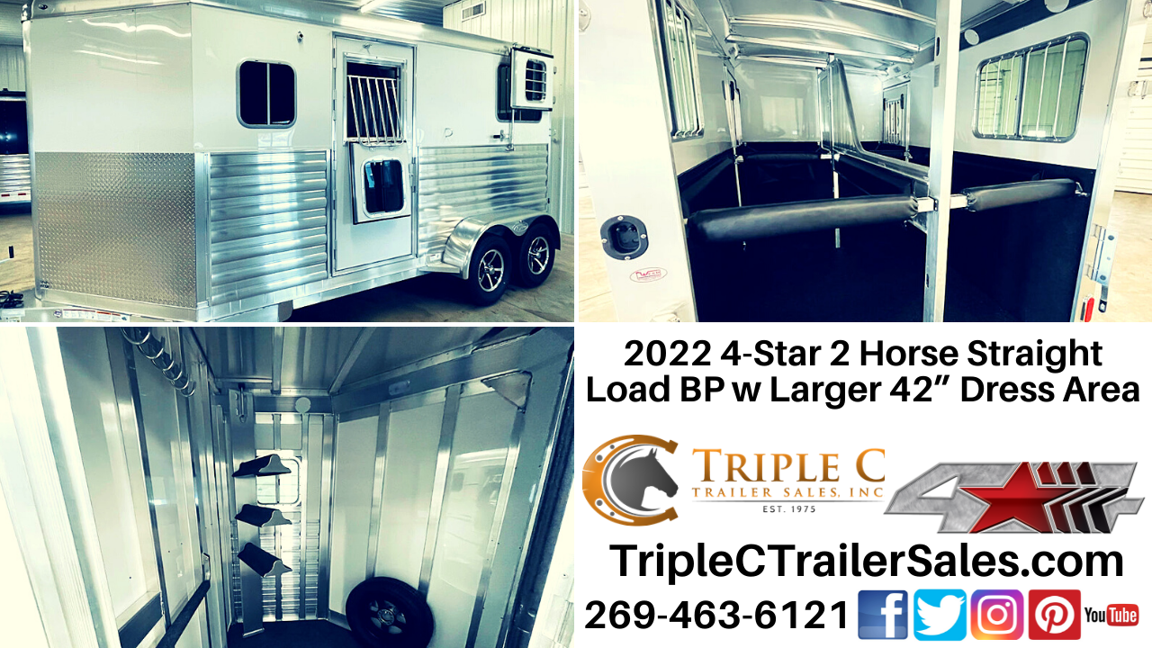 """2022 4-Star 2 Horse Straight Load BP w Larger 42"""" Dress Area"""